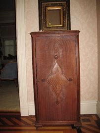 Antique music cabinet with Victorian shadow- box mirror
