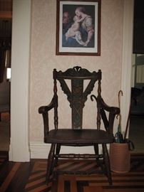 19th century  carved oak head master's chair