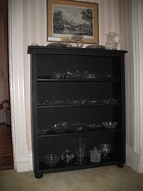 Cabinet of clear cut and pressed glass under original 18th c Italian print after painting by Locatelli