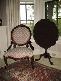 Victorian style parlor chair and tilt top table