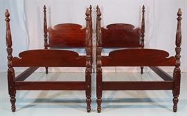 110a  Pair of mahogany acanthus carved twin poster beds, 56.5 in. T, 76 in. L, 35 in. W.