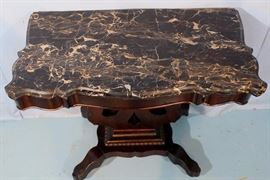 169b  Black and gold marble top Empire console table, 29 in. T, 36 in. W, 19 in. D.