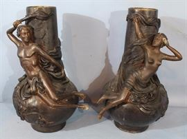 207a  Pair of bronze figural urns of boy and girl, 16 in. T.