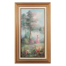 W. Rooper Oil Painting on Canvas of Lake Scene: An oil painting on canvas of a lake scene by artist W. Rooper. This Impressionist painting depicts a woman adorned in a pink dress and hat standing on a sloped, grassy hill overlooking a calm body of water and lone house to the distance. The foliage is primarily rendered with stippled brush strokes reminiscent of Pointillism. To the lower right corner of the composition is an artist signature. The painting is presented in a gold tone wooden frame with a linen liner.