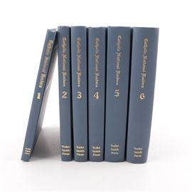 "1997 Six-Volume ""Catholic National Readers"": A six-volume set of Catholic National Readers. Featured are volumes one through six, sequentially, with illustrations throughout. The books were published in 1997 by Yorke-Smith Press, after the original publishing during the 1890s. Each book is presented in a blue hardbound cover with gilt lettering to the front and spine."