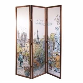 Vintage Hand Painted Acrylic on Fiberglass Triptych of Parisian City Scene: A vintage fiberglass triptych with a wooden frame. The piece is painted in acrylic with a Parisian city scene.