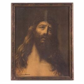 Lorenzo de Nevers Offset Lithograph of Christ with Crown of Thorns: A framed offset lithograph by artist Lorenzo de Nevers. The piece depicts Christ with a crown of thorns. It is presented in a wooden frame, under glass, with hanging wire to the verso.