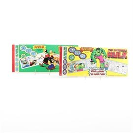 """Popeye"" and ""The Incredible Hulk"" Comic Strip Art Book: A set of two comic strip art books. The set includes Popeye and The Incredible Hulk, both of the books were published by Marvel Comics. It features black and white comic strips, to be colored with pens that are not included."