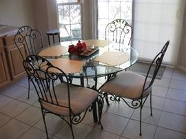 Glass Top DR Table with 4 Wrought Iron Upholstered Chairs