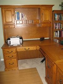 Golden Oak L-Shaped Executive Desk