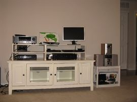 Riverside Senond Flat TV Stand, Sony 5 CD Changer -RCD-W500C, Sony Blu-Ray Disk Player, TiVo Roamio OTA , Panosonic Portable DVD/CD Player, Dell Computer Screen