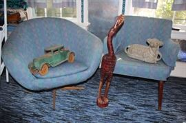 Pair of Upholstered Chairs.  Different in Style but Matching in Upholstery, Vintage Car and Animal Statuary