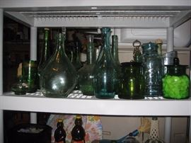 Green glass decanters etc