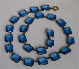 Art Deco Saphire Colored Multifaceted Glass Beads set in Sterling.  Purchase now at: www.manorbornestatesales.com