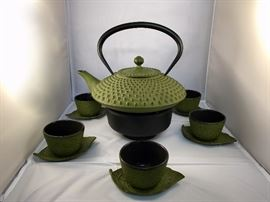 Japanese iron tea set with sterno base.  Purchase now at: www.manorbornestatesales.com