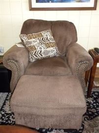 HOBNAIL OVERSTUFFED CHAIR WITH OTTOMAN