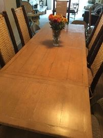 "Custom Oak Dining Table 40"" x 72""  with (2) 21"" leafs and (6) Timber Chairs (2) Arm (4) Side"