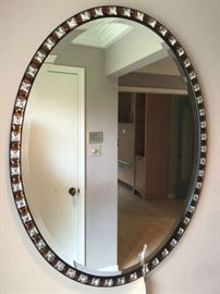 "Designer Custom Beveled Jeweled Mirror from 1989 Original Receipt  from Walter Herz Interiors 42"" x 30"""