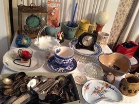 Clock, Pottery, Flatware