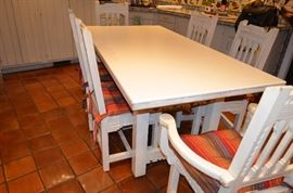 Custom Southwest Table/ Corian Top w/ 8 Chairs