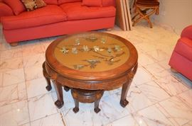 Hardstone Top Chinese Tea Table w/ Stools