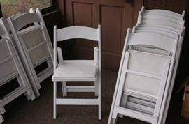 15+ chairs available, white resign folding.