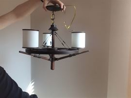 3  light Arts and Crafts style chandelier.