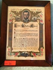 Framed lithograph of Gettysburg Address LOT 20