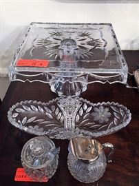 Pattern cake stand and other cut glass LOT 11