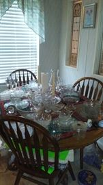 oak dining table and chairs, glassware