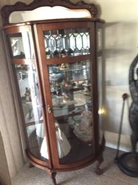 Antique Display Case with Lion's Feet Legs & Beveled Glass