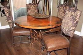 "Hammered copper dining table (60""), with 4 chairs  (Seville Home)"