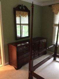 Thomasville cherry triple dresser and mirror