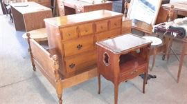 Maple twin bed and dresser with mirror.  Assorted small tables.