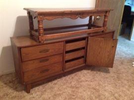 Mid-century dresser, needs TLC.  4.5 ft coffee table.