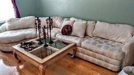 Sectional sofa with chow leg coffee table and end table
