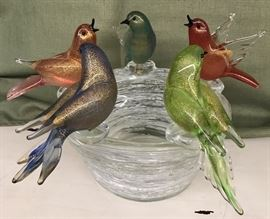 Murano Glass Handblown Bird's Nest and Birds