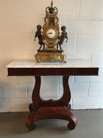 Marble Top Lyre Table with Imperial Bronze Marble Cherub Clock (will come with matching candelabras)
