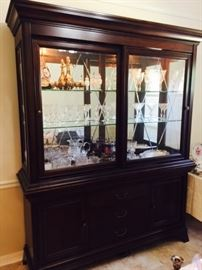 Lighted China Cabinet with Silver Drawer & Hidden Silver Storage