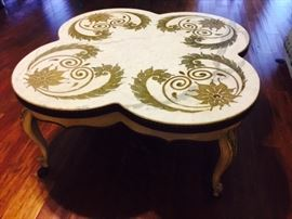 HEAVY!!  Inlaid Marble Coffee Table