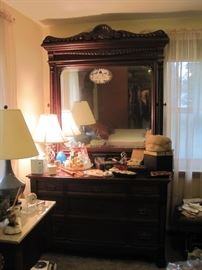 dresser with mirror that matches bed & tall chest