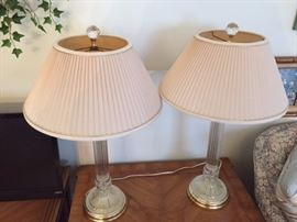 Pair of Crystal Lamps.