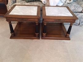Pair of 1970's Marble Top End Tables.