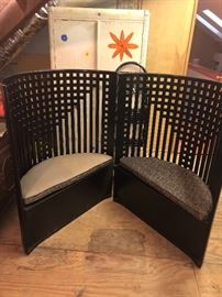 The best Art Deco from old Chicago hotel, bench style high backs in wood