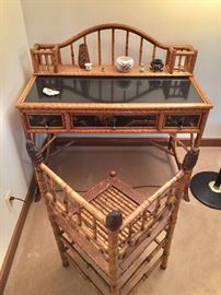 Bamboo desk and antique bamboo corner chair