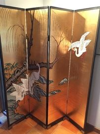 Japanese gold leaf screen with cranes