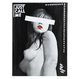 """Justin Fontaine Maury Mixed Media on Canvas """"Just Call Me"""": A print on tissue paper with acrylic embellishments on canvas titled Just Call Me by contemporary artist Justin Fontaine Maury (b. 1988). In a half-length pose, the work depicts the image of a female nude, similar to those found in vintage adult advertisements. Unsigned by the artist. Presented without a frame."""