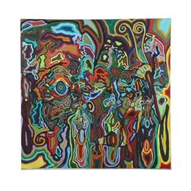 """Clintel Steed Oil Painting on Canvas """"Ode to Afro's and Goldtea's"""": An oil painting on canvas titled Ode to Afro's and Goldtea's by listed contemporary artist Clintel Steed (New York, b. 1977), created in 1995. This work features heavily abstracted faces, packed with concentric linear outlines in vivid neon and phosphorescent colors. An abyss of writhing organic shapes fills the composition; psychedelic rainbow hues glow and smoothly gradate into one another. The work is signed, dated, and titled to the verso. The composition remains unframed."""