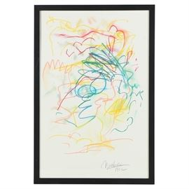 Nicholas Barbieri Pastel Drawing on Paper of Gestural Lines: A pastel drawing on paper of lines by listed artist Nicholas Barbieri (American; 1942-2013). Depicted are gestural lines of blue, green, yellow, and pink slightly blended together on a white background. Artist's signature to lower right corner with year of creation. Presented behind glass in a black wooden frame with wire hanger to verso.