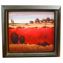 Framed Oil on Canvas of a Red Landscape: An original framed oil painting on canvas. This landscape painting depicts a broad red field in the foreground of a cluster of white homes in a wooded thicket. The unsigned work is presented in a black wood frame with gold tone trim. Hardware is present to the verso.
